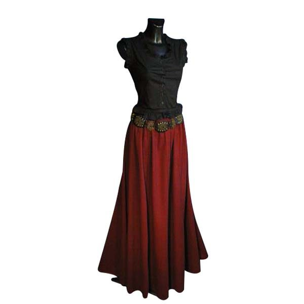 Medieval Style Linen Look Long Skirt RED