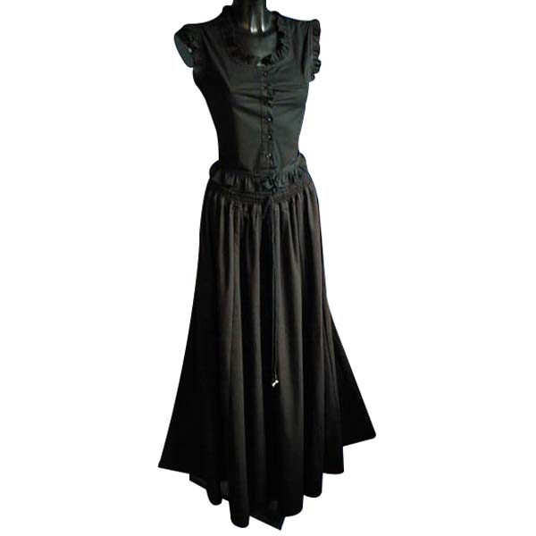 Medieval Style Linen Look Long Skirt BLACK