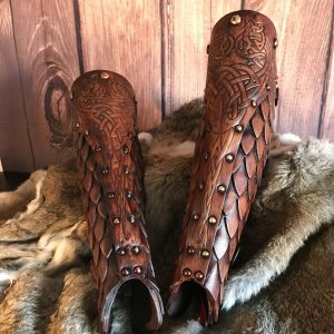The Sigrun Deluxe Larp Leather Greaves