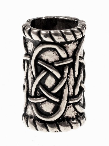 Large Cylinder Beard Bead Silver Plated Picture